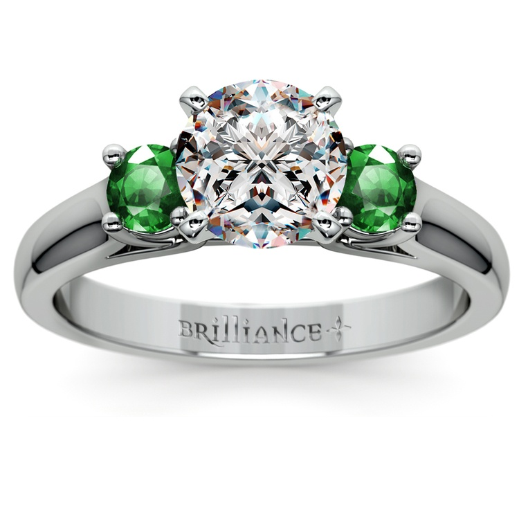 Round Emerald Gemstone Engagement Ring in White Gold | 01