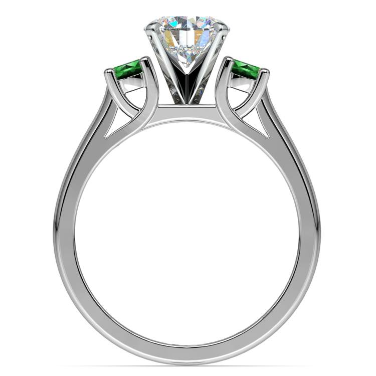 Round Emerald Gemstone Engagement Ring in White Gold | 02