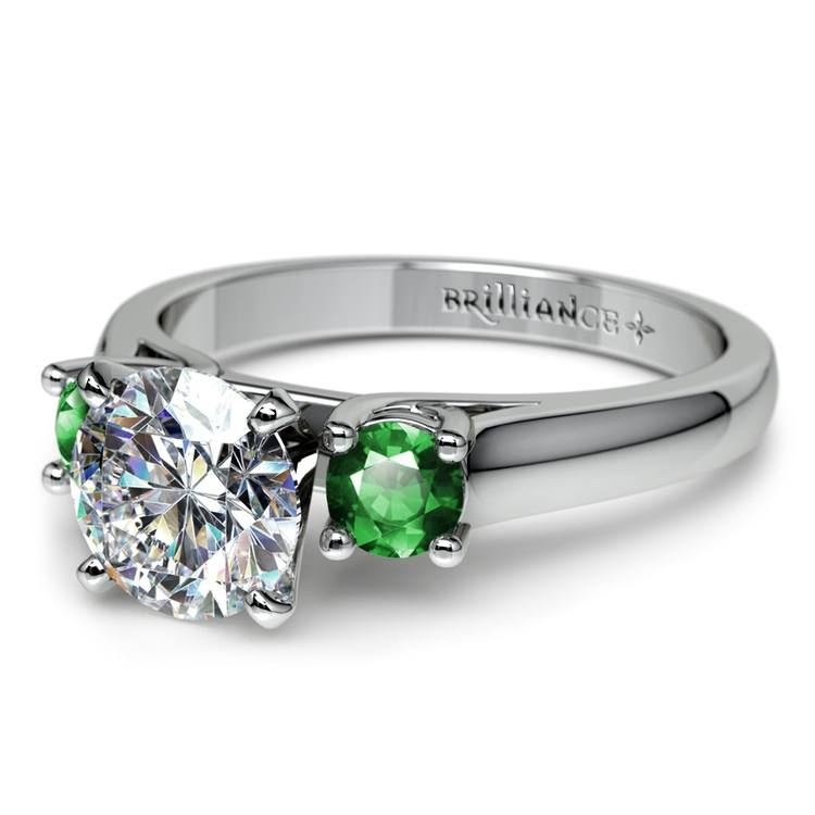 Round Emerald Gemstone Engagement Ring in White Gold | 04