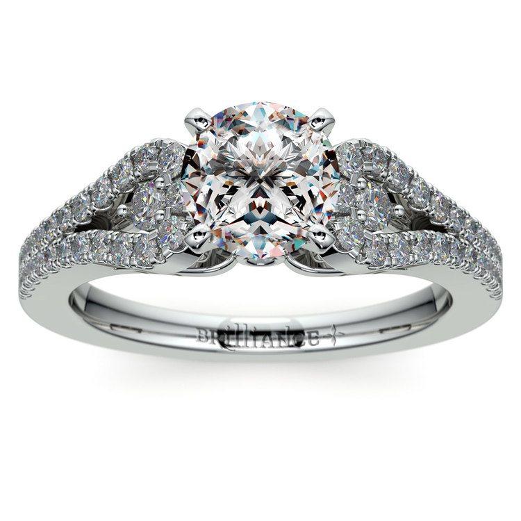 Round Petal Loop Diamond Engagement Ring in Platinum | 01