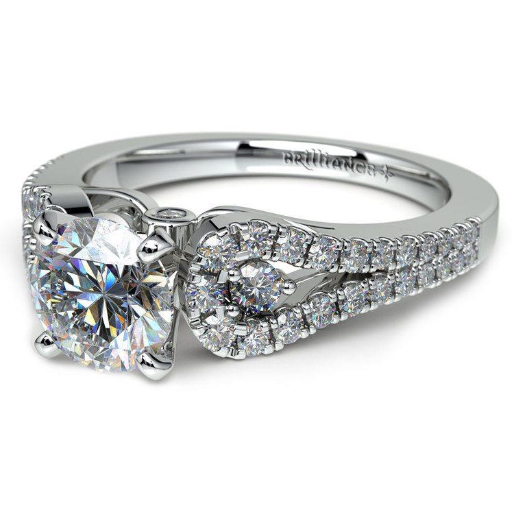 Round Petal Loop Diamond Engagement Ring in Platinum | 04