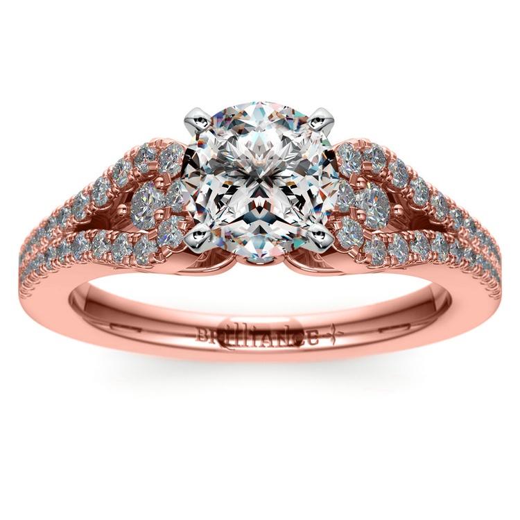 bca4dc40340 Round Petal Loop Diamond Engagement Ring in Rose Gold