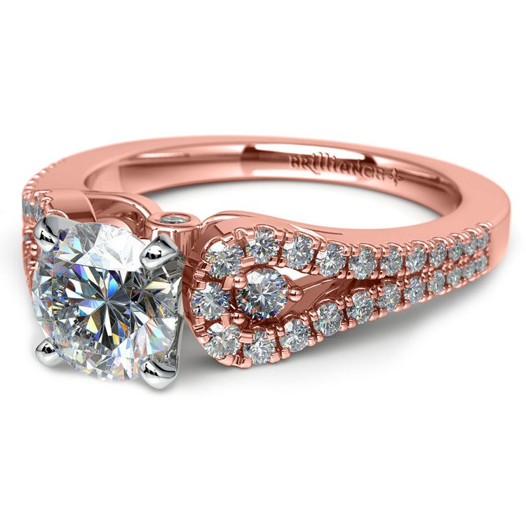 Round Petal Loop Diamond Engagement Ring in Rose Gold | 04