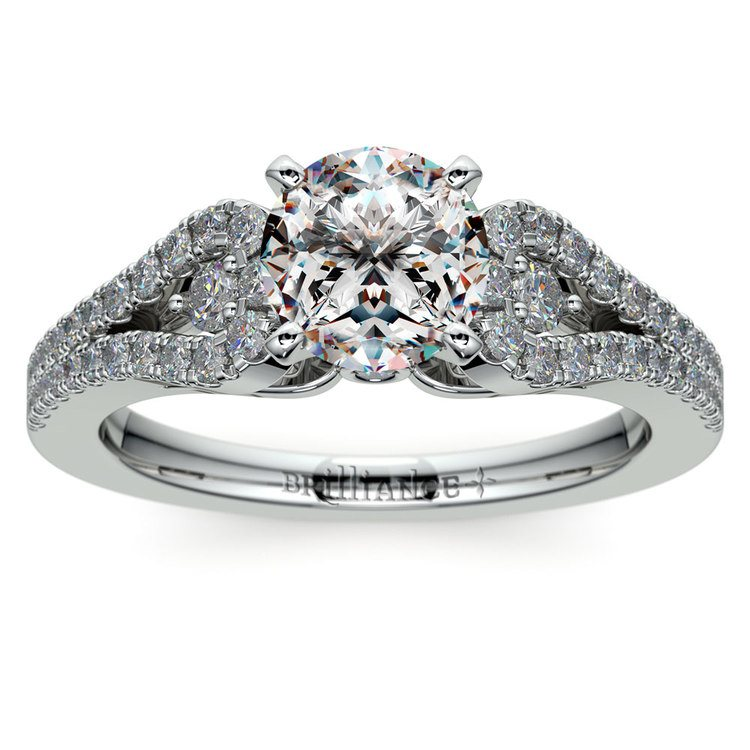 Round Petal Loop Diamond Engagement Ring in White Gold | 01
