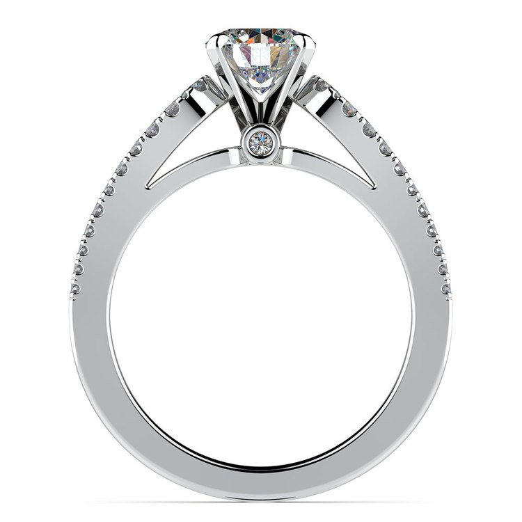 Round Petal Loop Diamond Engagement Ring in White Gold | 02