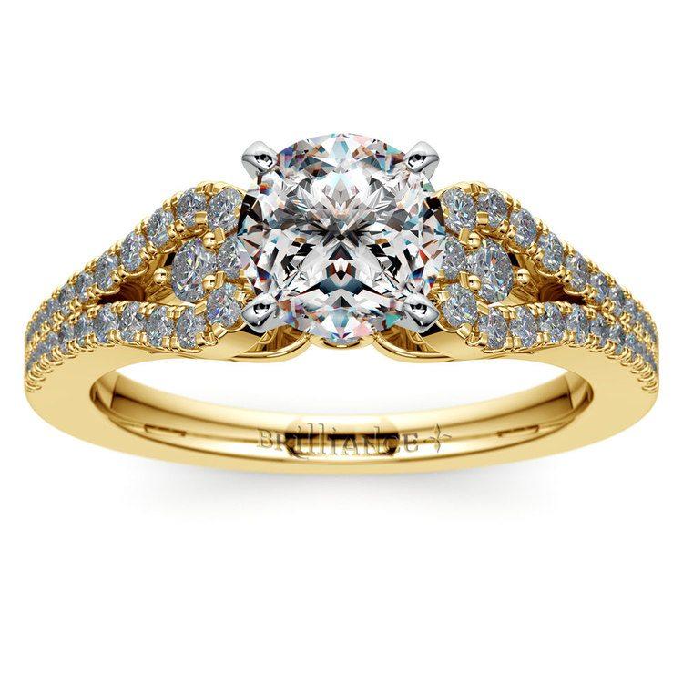 Round Petal Loop Diamond Engagement Ring in Yellow Gold | 01