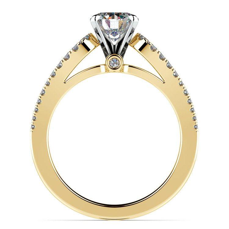 Round Petal Loop Diamond Engagement Ring in Yellow Gold | 02