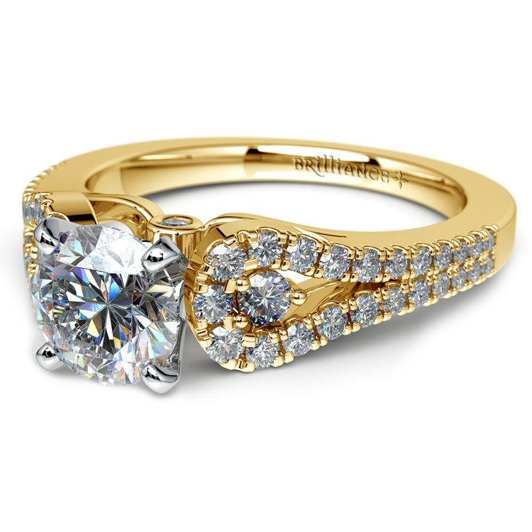 Round Petal Loop Diamond Engagement Ring in Yellow Gold | 04