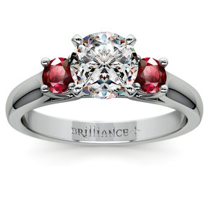 Round Ruby Gemstone Engagement Ring in Platinum