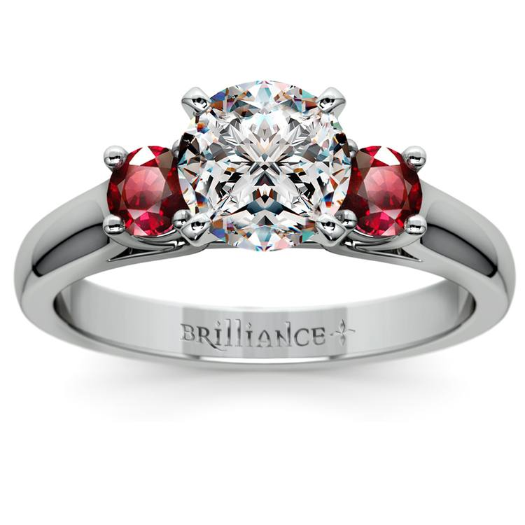 Round Ruby Gemstone Engagement Ring in Platinum | 01