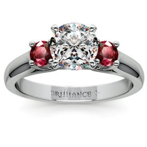 Round Ruby Gemstone Engagement Ring in White Gold