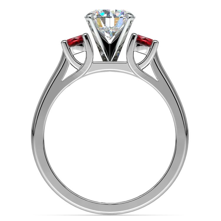 Round Ruby Gemstone Engagement Ring in White Gold | 02
