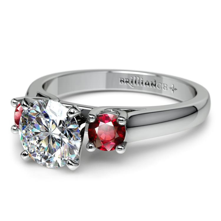 Round Ruby Gemstone Engagement Ring in White Gold | 04