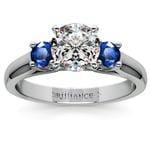 Round Sapphire Gemstone Engagement Ring in Palladium | Thumbnail 01