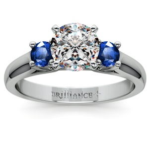 Round Sapphire Gemstone Engagement Ring in Platinum