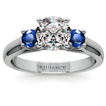 Round Sapphire Gemstone Engagement Ring in White Gold | Thumbnail 01