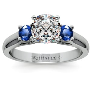 Round Sapphire Gemstone Engagement Ring in White Gold