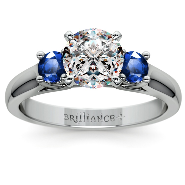 Round Sapphire Gemstone Engagement Ring in White Gold | 01