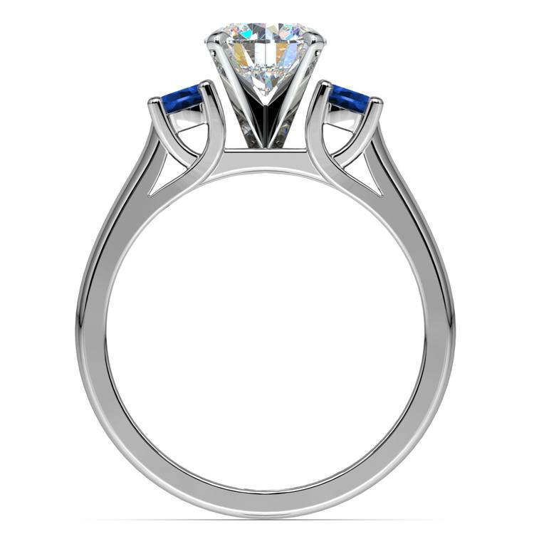 Round Sapphire Gemstone Engagement Ring in White Gold | 02