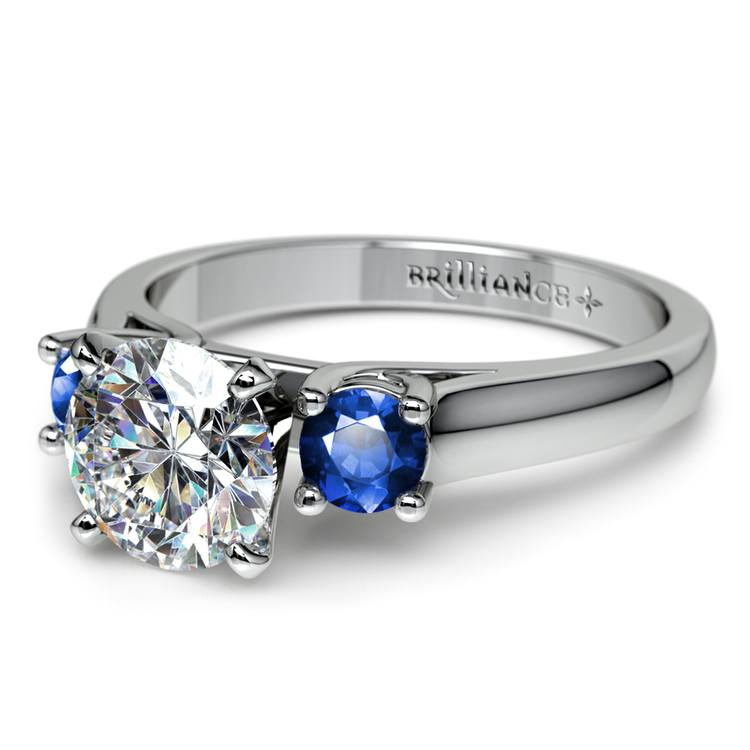 Round Sapphire Gemstone Engagement Ring in White Gold | 04