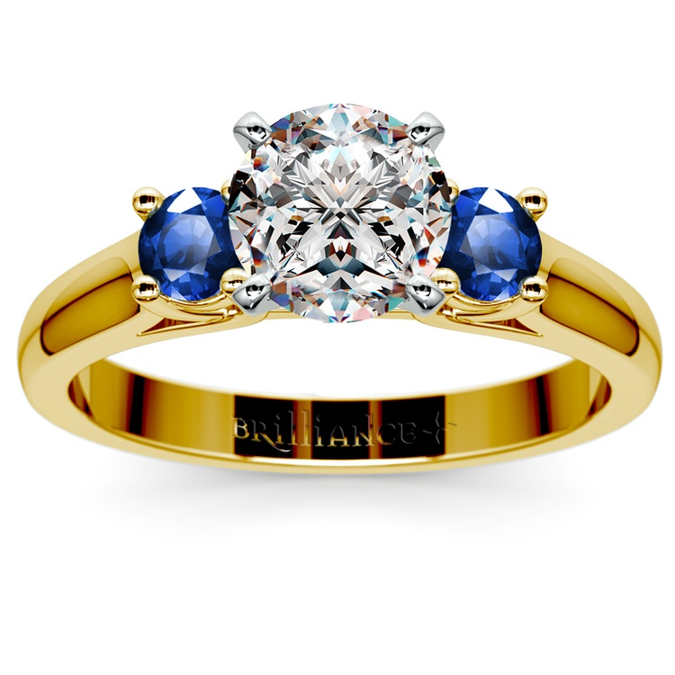 Round Sapphire Gemstone Engagement Ring in Yellow Gold | 01