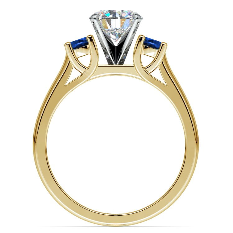 Round Sapphire Gemstone Engagement Ring in Yellow Gold | 02