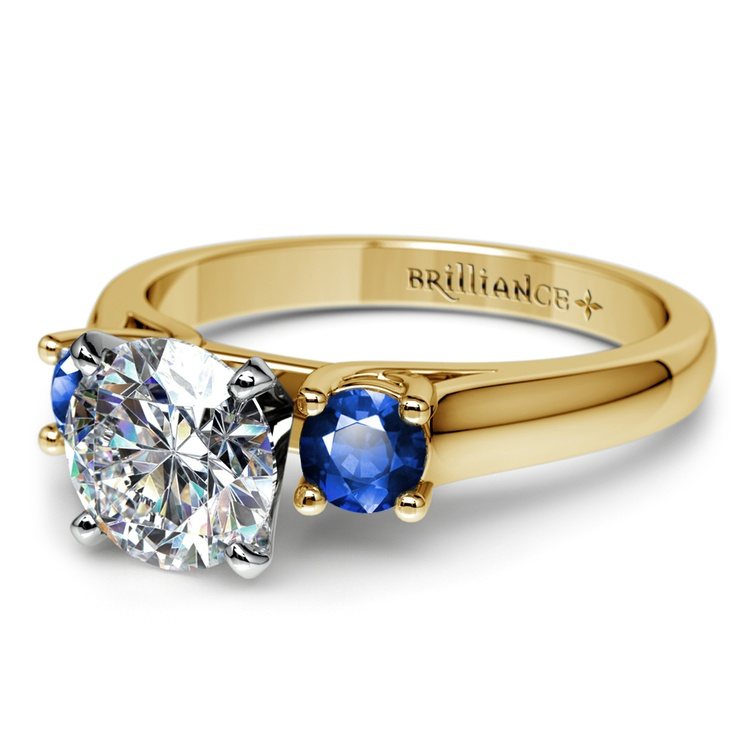 Round Sapphire Gemstone Engagement Ring in Yellow Gold | 04