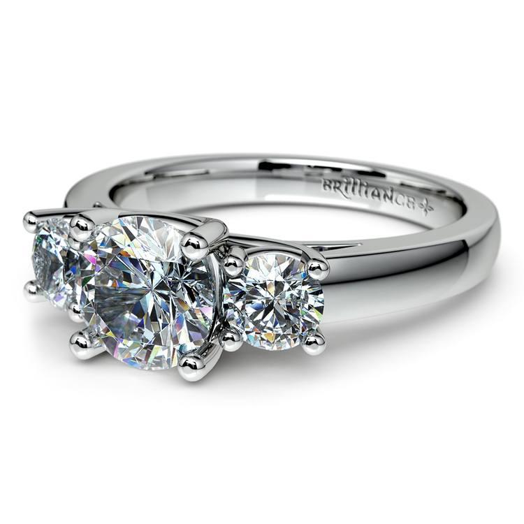 Round Three Diamond Preset Engagement Ring in White Gold (1 1/2 ctw) | 01