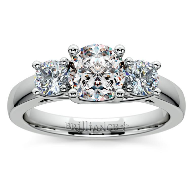 Round Three Diamond Preset Engagement Ring in White Gold (3/4 ctw) | 02