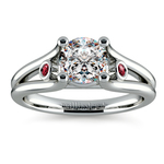Ruby Accent Gem Engagement Ring in White Gold | Thumbnail 01