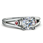 Ruby Accent Gem Engagement Ring in White Gold | Thumbnail 04