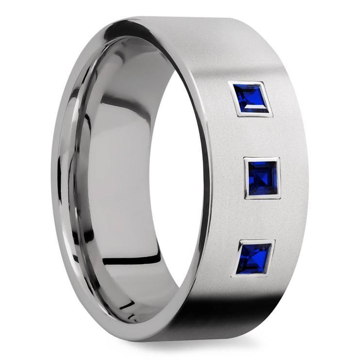 Saphirus - Sapphire & Titanium Mens Engagement Ring | 02