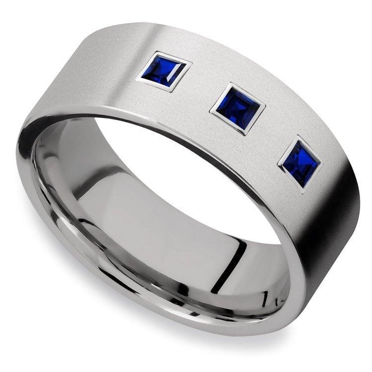 Saphirus - Sapphire & Titanium Mens Engagement Ring | 03