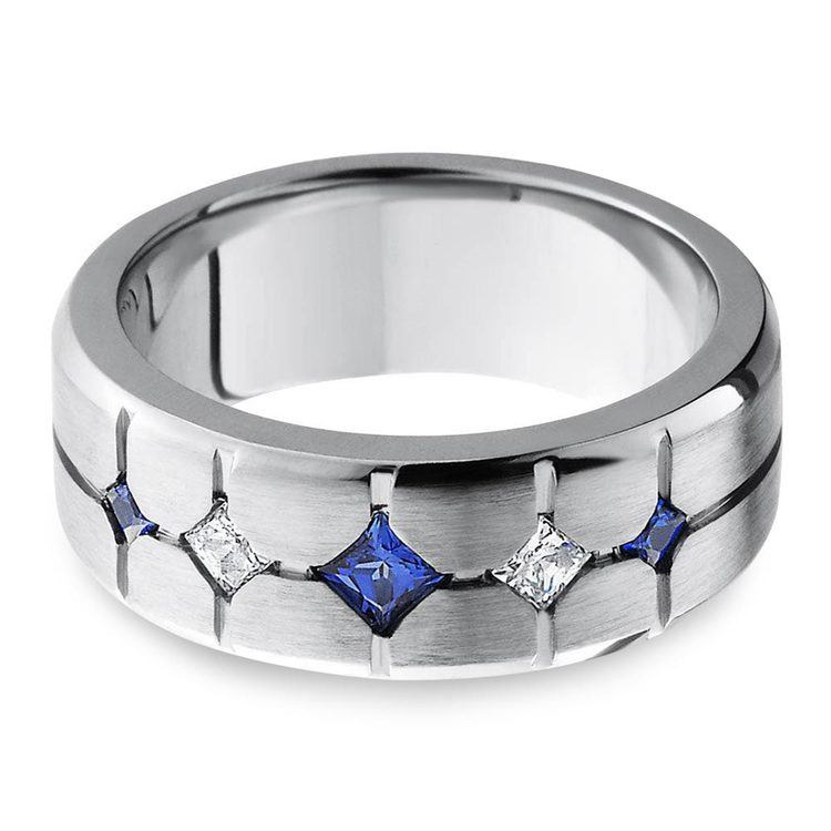 Sapphire and Diamond Men's Engagement Ring in Cobalt | 01