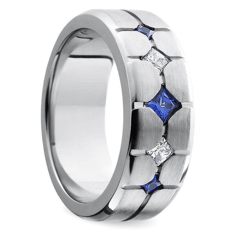 Sapphire and Diamond Men's Engagement Ring in Cobalt | 02