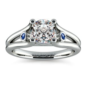 Sapphire Accent Gemstone Engagement Ring in White Gold