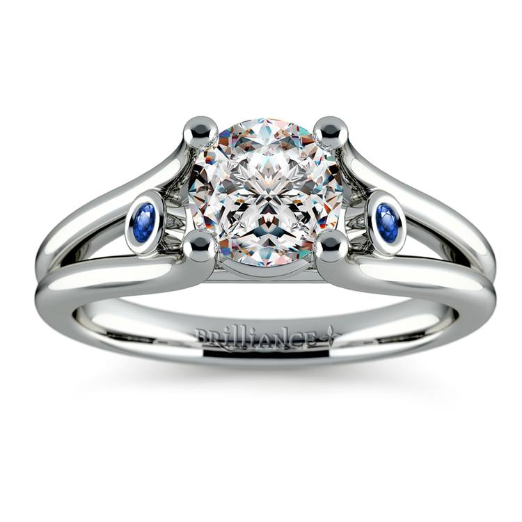 Sapphire Accent Gemstone Engagement Ring in White Gold | 01