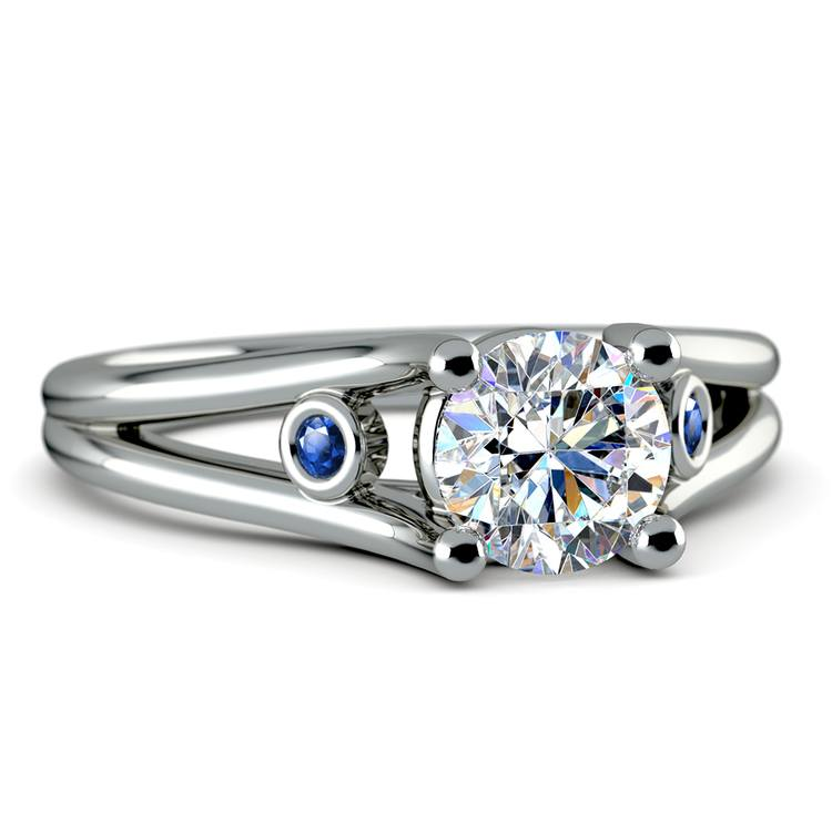Sapphire Accent Gemstone Engagement Ring in White Gold | 04