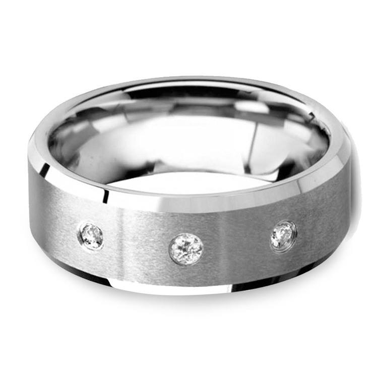 Beveled Diamond Men's Engagement Ring In Tungsten   01