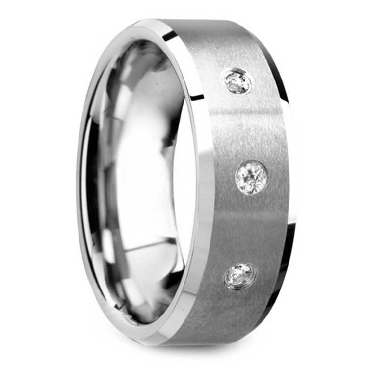 Beveled Diamond Men's Engagement Ring In Tungsten   02