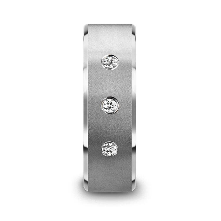 Beveled Diamond Men's Engagement Ring In Tungsten   04