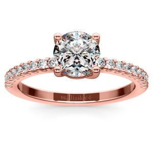 Scallop Diamond Engagement Ring in Rose Gold (1/5 ctw)