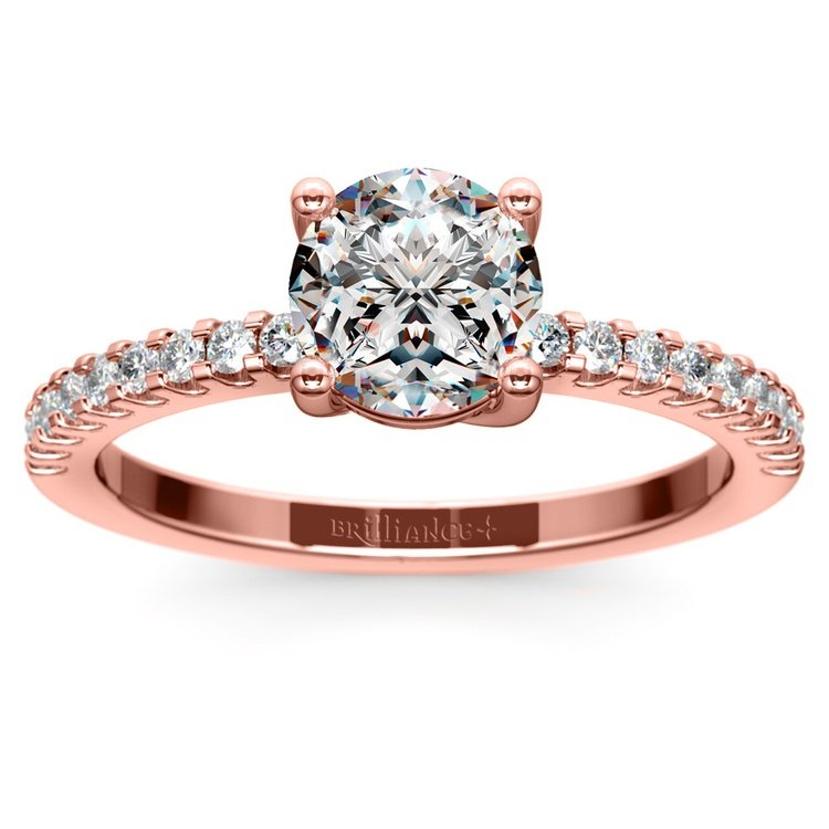 Scallop Diamond Engagement Ring in Rose Gold (1/5 ctw) | 01