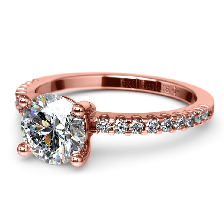 Scallop Diamond Engagement Ring in Rose Gold (1/5 ctw) | 04