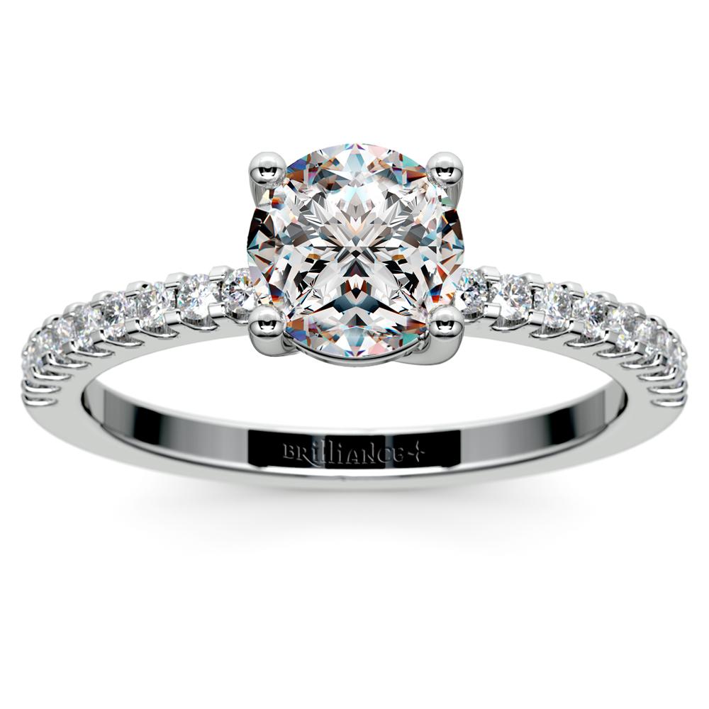 Scallop Diamond Engagement Ring In Palladium (1/5 Ctw