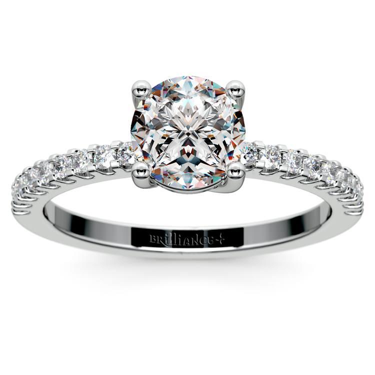 Scallop Diamond Engagement Ring in Platinum (1/5 ctw) | 01