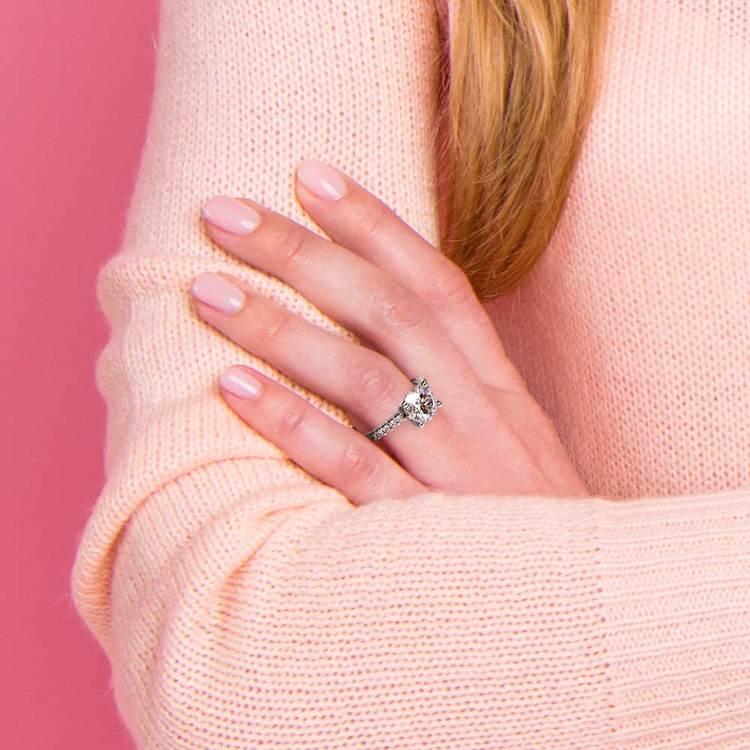 Scallop Diamond Engagement Ring in Platinum (1/5 ctw) | 07