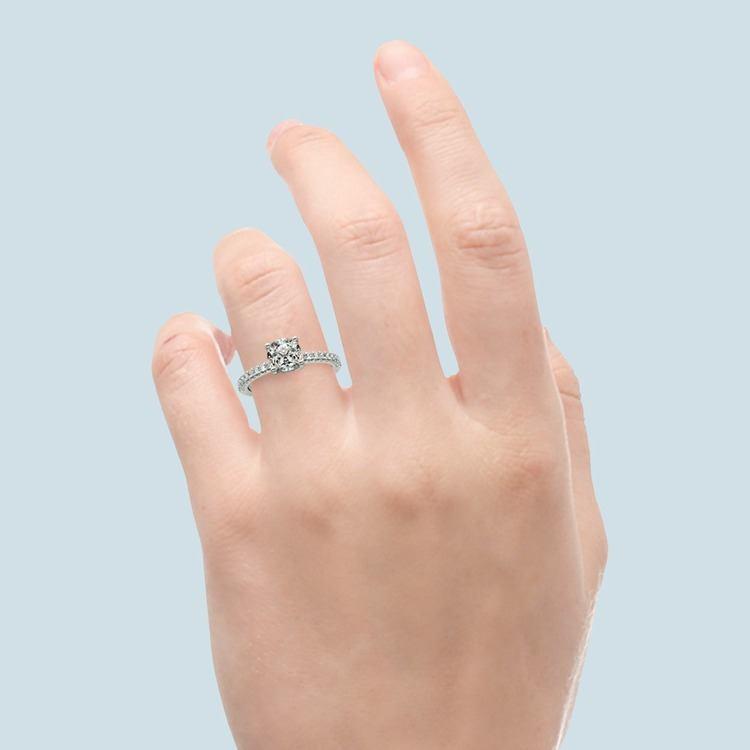 Scallop Diamond Engagement Ring in Platinum (1/5 ctw) | 06