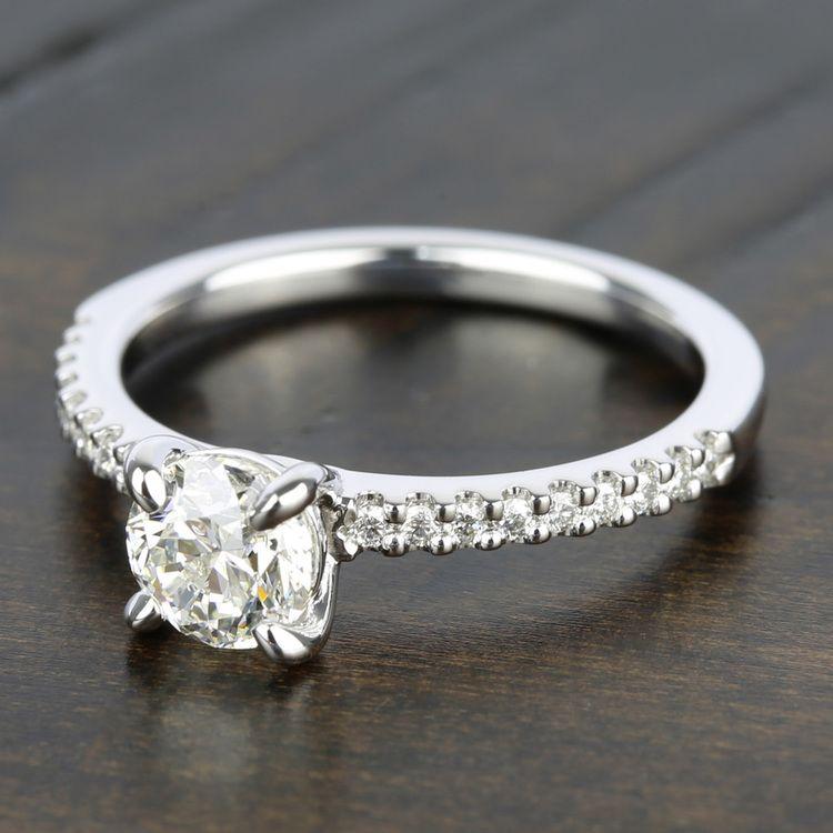 Scallop Diamond Engagement Ring in Platinum (1/5 ctw) | 05
