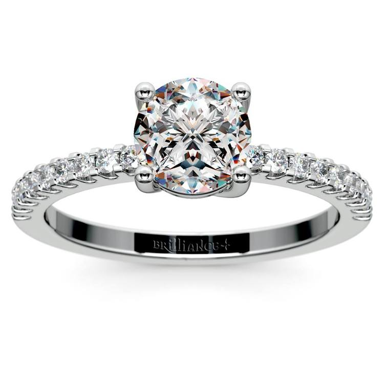Scallop Diamond Engagement Ring in White Gold (1/5 ctw) | 01